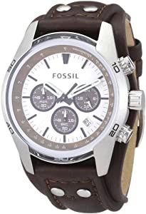 Fossil Men's CH2565 Cuff Chronograph Tan Leather Watch: Watches