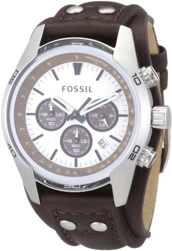 Fossil CH2565 Gents Brown Leather Cuff Strap Watch with White Dial