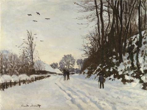The Road To The Farm Saint-Simeon In Winter, 1867 by Claude Monet
