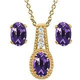 1.73 Ct Oval Purple Amethyst 14K Yellow Gold Pendant Earrings Set