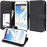 Note 2 Case, Abacus24-7 Note 2 Wallet Case [Book Fold] Leather Galaxy Note 2 Flip Cover with Foldable Stand, Pockets for ID, Credit Cards - Black Flip Case for Samsung Note 2