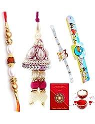 Ethnic Rakhi Designer Floral Pattern Multi-Color Fashionable And Stylish Mauli Thread And Beads Rakhi Set Of 4...