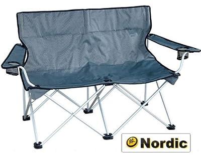 Nordic Angel Faltbank 2er Faltstuhl Camping Bank grau