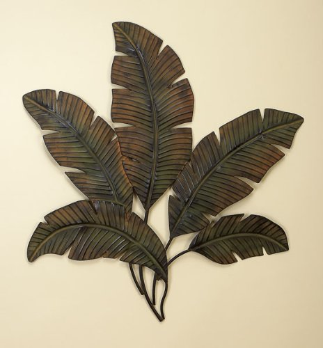 Metal Palm Wall Decor With Palm Tree Leaves by Benzara