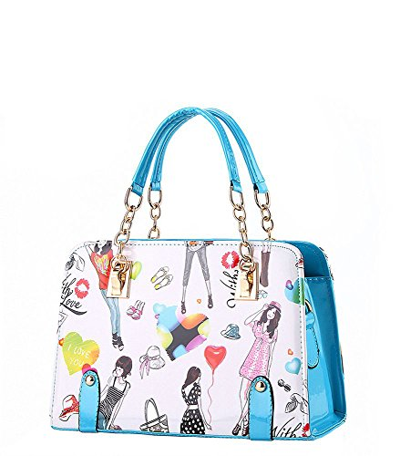 koson-man-womens-cartoon-pu-leather-vintage-tote-bags-top-handle-handbagblue