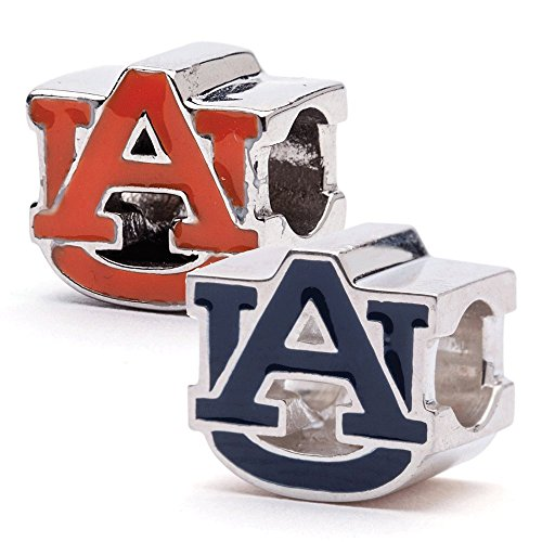 Auburn Tigers AU Logo Bead Charms - Set of 2 (Orange & Blue) - Fits Pandora & Others