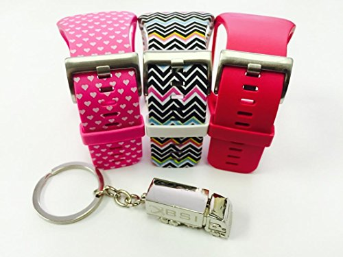 BSI Set 3 - 1 Pink with White Hearts 1 Rose 1 Zigzag Rainbow Design Replacement Bands For Samsung Gear S Smart Watch Smartwatch Wireless + Free Silver Metal Truck Keychain with BSI(TM) LOGO