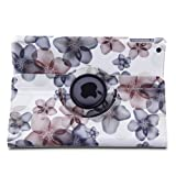 Generic Lightweight PU Leather 360 Degree Rotating Auto Sleep/Wake Function Stand Smart Protective Case Cover for 9.7 inch 2013 iPad Air --Lucky Flower design,Khaki+with a Stylus as a Gift