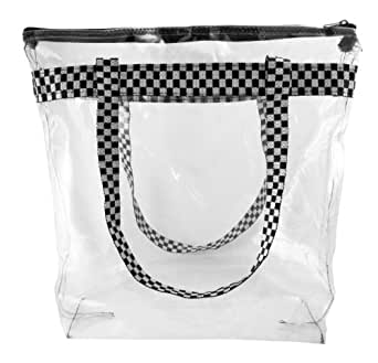 Clear Tote Bag with Checkered Trim