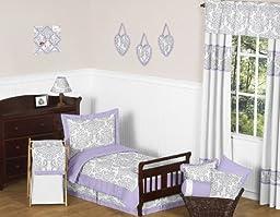 Lavender, Gray and White Elizabeth Damask Print Girl Toddler Bedding Children and Kids 5pc Set
