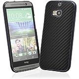 EnGive HTC One M8 Hülle (Modell 2014) harte Rückseite Carbon-Faser Hülle Case (schwarz)