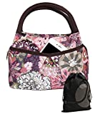 JAVOedge Pink Japanese Floral Pattern Lunch Bag Tote Zipper with Front Pouch Pocket and Handle + Bonus Drawstring Bag