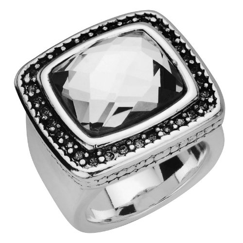 Size 7 -Inox Jewelry Women's Stainless Steel Clear Crystal Cocktail Ring