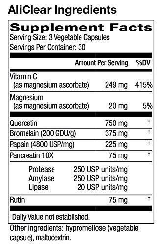 Quercetin  Bromelain  Papain  Vitamin C  Magnesium - 90 Vegetable