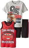 Disney Little Boys' 3 Piece Team Lightning McQueen Muscle Top with Short Set