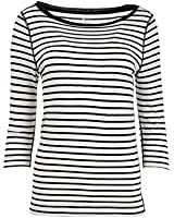 Three Dots Womens Striped Boatneck Casual Top