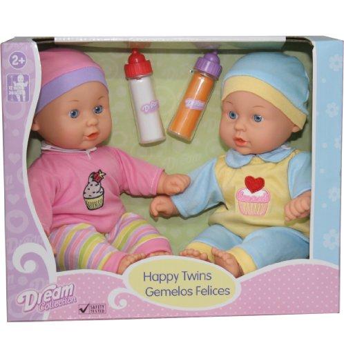 12'' Baby Twins Dolls 1 Boy & 1 Girl With Milk & Juice Bottle