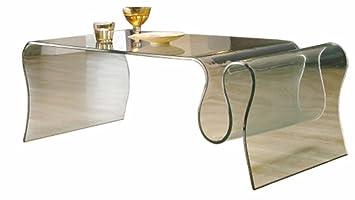 Table basse porte revues en verre, L.123 X P.60 X Ht.43 cm -PEGANE-
