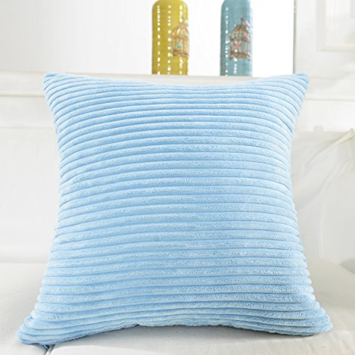 Home Brilliant Solid Supersoft Corduroy Handmade Decorative Velvet Throw Pillow Cushion Cover With Zipper for Bed, Light Blue, 18