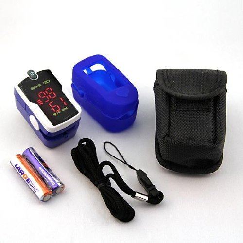 Concord Fingertip Pulse Oximeter with free carrying case, lanyard and protective cover. The Concord Sapphire.