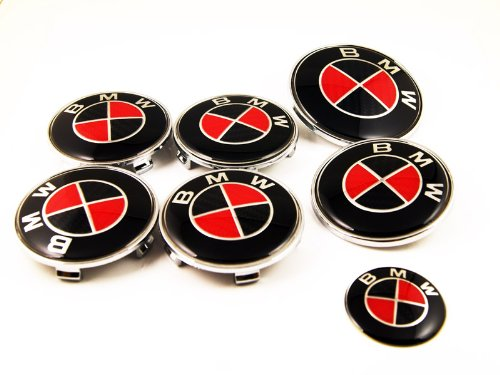 7 Black Red BMW Car Carbon Fiber Badges Bonnet Boot Steering Wheel Caps Emblem (1995 Bmw 325i Emblem compare prices)