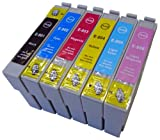 King of Flash Epson Compatible 1 Full Set of Ink Cartridges TO801-TO806 for Epson Stylus Photo P50