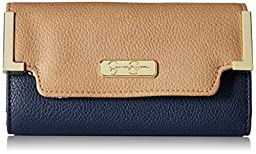 Jessica Simpson Frances Med Flap Wallet, Slate Indigo/Sand, One Size