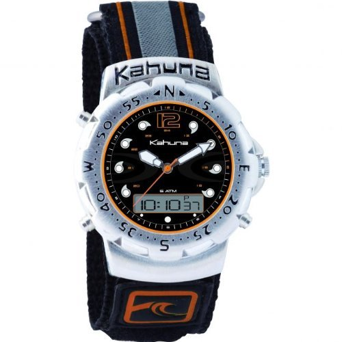 Kahuna Mens / Youth-Boys Black Dial Analogue-Digital Combo Display Black Fabric Velcro strap Watch with Backlight & 50 Meters Water Resistant - AK1C1013G