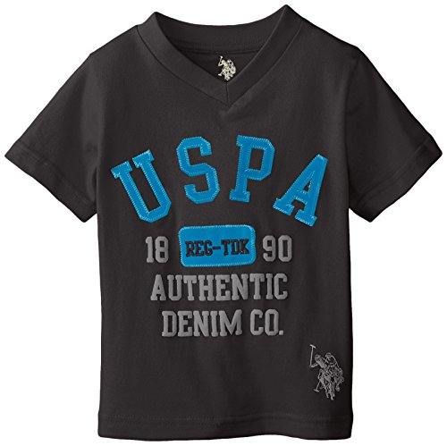 U.S. Polo Assn. Little Boys' Screen Print Applique and Embroidered Logo T-Shirt, Black, 7