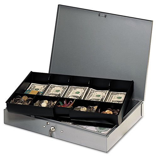 SteelMaster - Extra-Wide Steel Cash Box w/10 Compartments, Key Lock, Gray 2215CBTGY (DMi EA (Steelmaster Low Profile Cash Box compare prices)