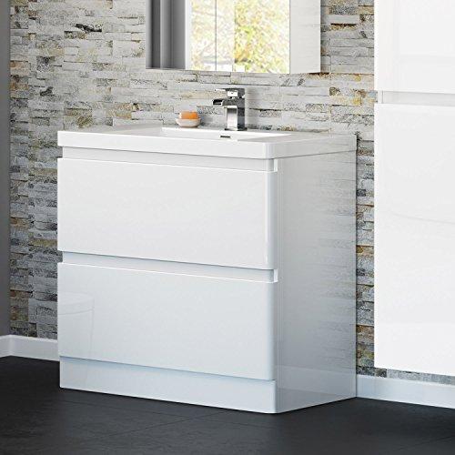900 mm White Gloss Vanity Sink Unit Ceramic Basin Bathroom Storage Furniture