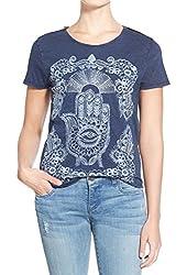 Lucky Brand Apparel Women's Embroidered Hamsa Hand Tee Shirt American Navy