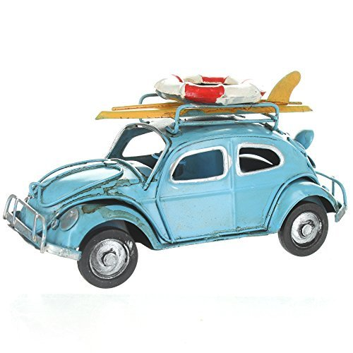 Retro VW Style Beetle With Surfboard And Life Belt On Roof Rack - Blue