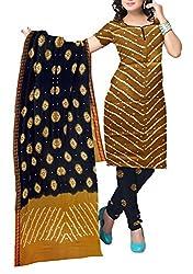 Shreya Fashion Women's Cotton Satin Unstitched Dress Material (VE001_Golden_Free size)