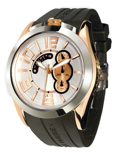 Haurex Italy Blaze Silver Dial Watch #3D333USH - Reloj de caballero de cuarzo, correa de goma color negro