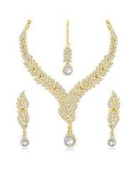Sukkhi Fine Gold Plated Australian Diamond Stone Studded Necklace Set