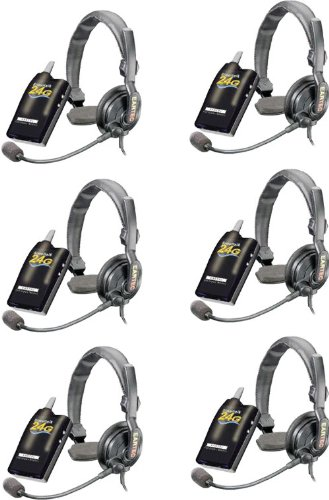 Simultalk 24G Wireless System For Referees, Coaches And Sports Teams, With 6 Slimline Headsets