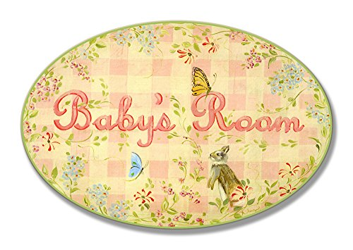 The Kids Room by Stupell Baby's Room Bunny and Butterflies Oval Wall Plaque