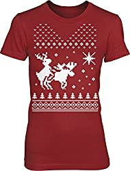 Women's North Star Reindeer Humping Moose RED T Shirt Ugly Sweater Xmas Tee from Crazy Dog Tshirts