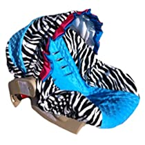 Infant Car Seat Cover, Baby Car Seat Cover, Slip Cover-Zebra Minky & Blue Minky w/Blue Pink Ruffle!