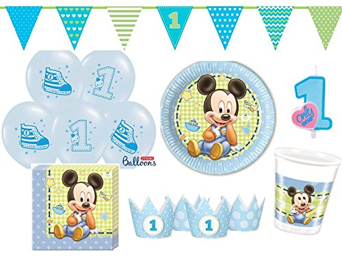 48 tlg partyset mickey baby 1 geburtstag hellblau f r. Black Bedroom Furniture Sets. Home Design Ideas