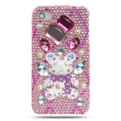 iPhone 4 Full Diamond 3D Hot Pink Bear Case 4S/4 (Verizon/AT&T/Sprint) [Retail Packaging]