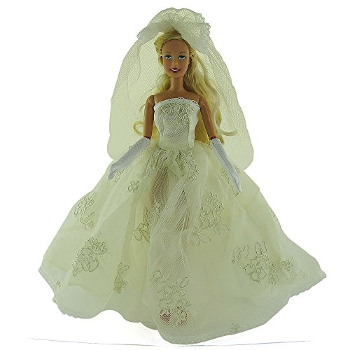 co2CREA(TM) Brand New Beige Wedding Gown Fashion Clothes Dresses Mini Cute Outfit for 29cm Barbie Doll (11 1/2 inch scale 1:6) Great Xmas gift for kids - 1