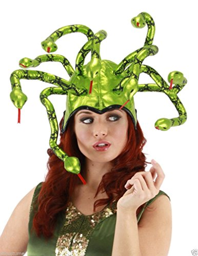 [Popcandy Medusa Hat Shiny Green Lame Snakes Elope Headpiece Snake Headpiece 290290] (Medusa Headpiece Halloween Costume)