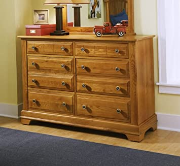 Cottage Double 6 Drawer Dresser Finish: Black