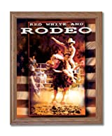 Western Cowboy Red White And Rodeo Bull Rider Home Decor Wall Picture Oak Framed Art Print