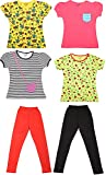 Little Stars Girls' Regular Fit Tops and Leggings - Pack of 4 Tops and 2 Leggings (31006_Cute Girl_7-8 Years, Multi-Coloured, 7-8 Years)