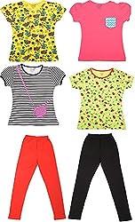 Little Stars Girls' Regular Fit Tops and Leggings - Pack of 4 Tops and 2 Leggings