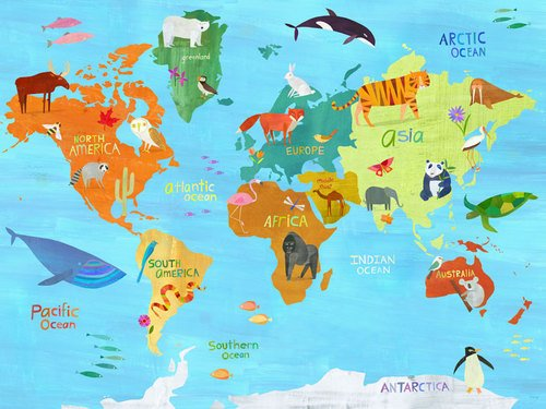 Oopsy Daisy Animals Around The World By Melanie Mikecz Canvas Wall Art, 24 By 18-Inch