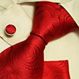 Red Paisleys tie for men handmade discount silk ties cuff links handkerchiefs gift box set H5104